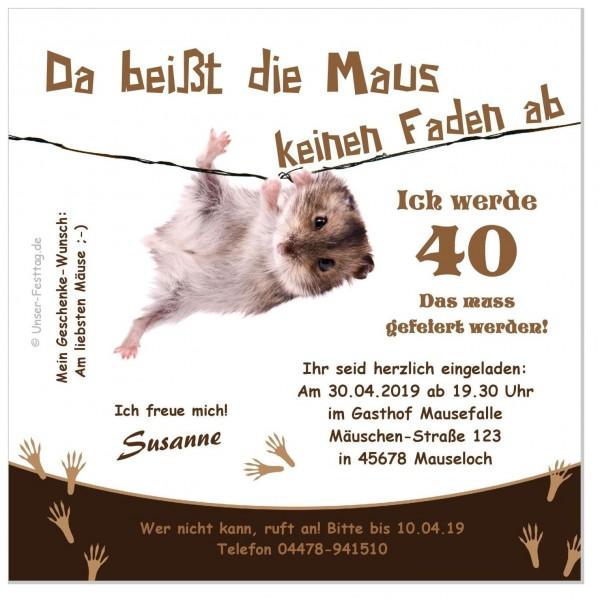 Lustige Geburtstagseinladungen Maus Faden