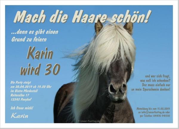 Einladungskarte Geburtstag Pferd Tier