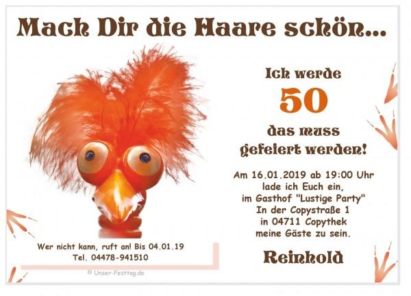 Geburtstagseinladung Haare Schön Vogel
