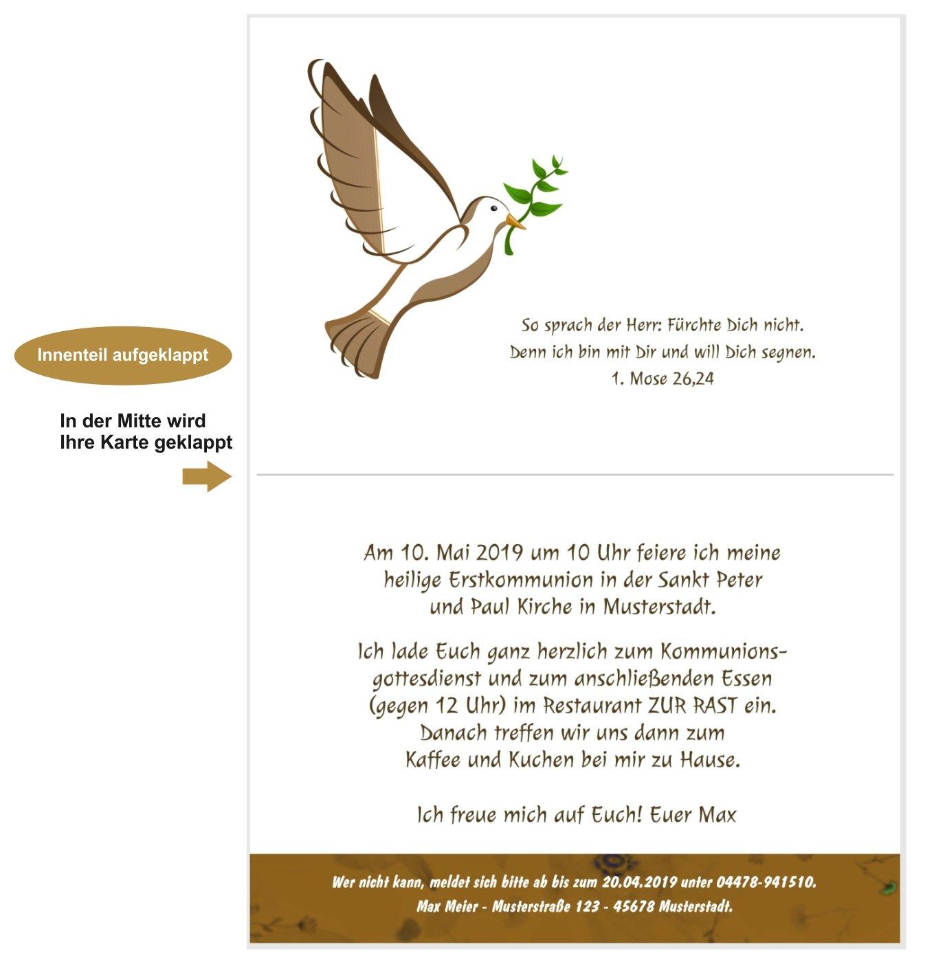 Schone Und Edle Einladungen Zur Kommunion Unser Festtag