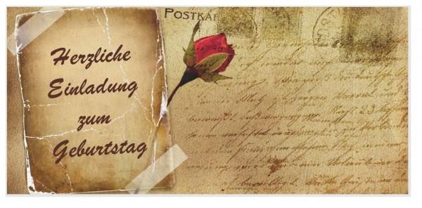 Einladungskarten Geburtstag Rose Vintage