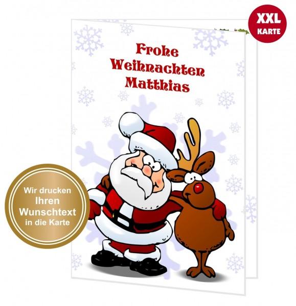 Xxl Weihnachtskarte Weihnachtsmann Rentier