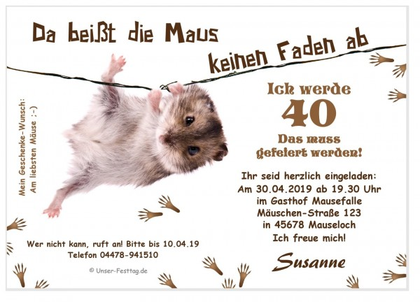 Lustige Einladungskarte Maus Faden
