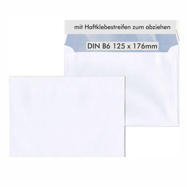 Briefumschläge B6 weiß haftklebend HK