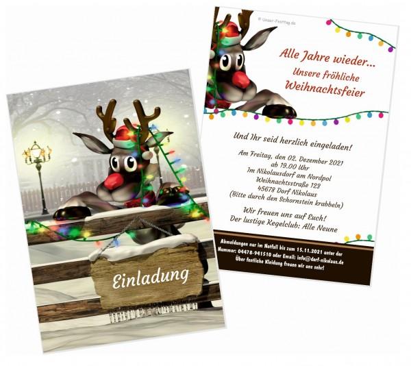 Einladung Weihnachtsfeier Rudolf Lädt Ein