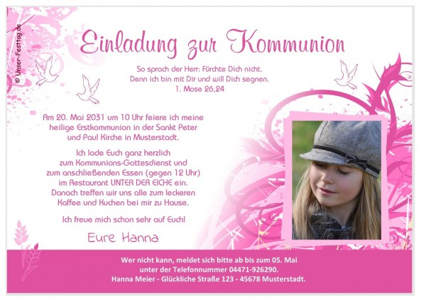 Einladungskarten Kommunion Mädchen Spruch