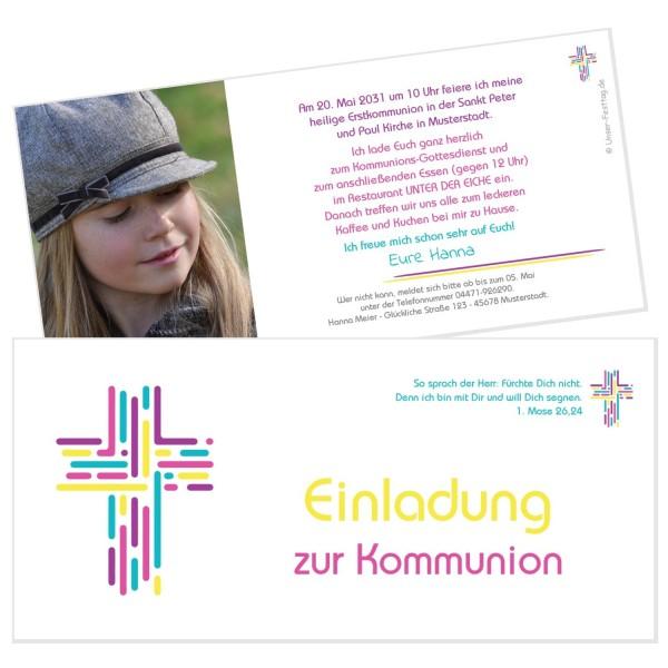 Ausgefallene Einladungskarten Kommunion Buntes Kreuz