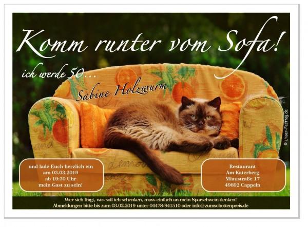 Einladungskarte Katze auf Sofa