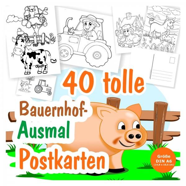 40 x Bauernhof A6 Ausmalpostkarten