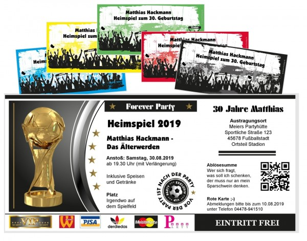 Einladungskarten Fußballticket Heimspiel Geburtstag