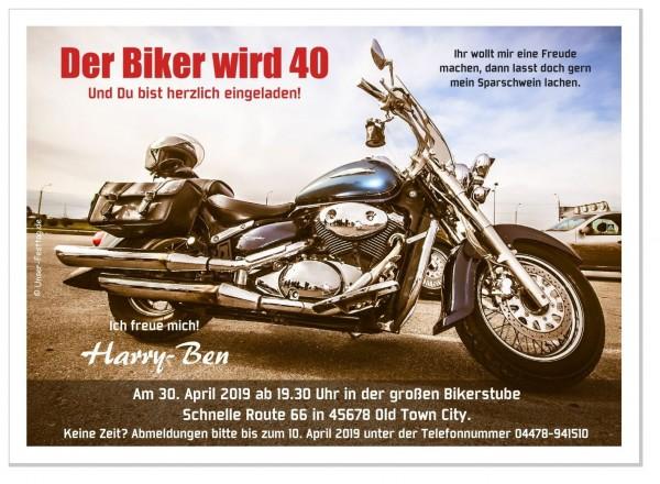 Geburtstagseinladung Motorrad Biker Rocker
