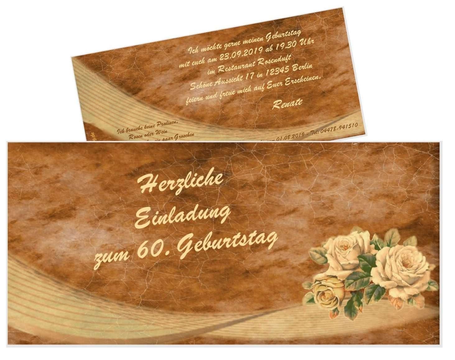 Einladungskarte Vintage Mit 3 Rosen