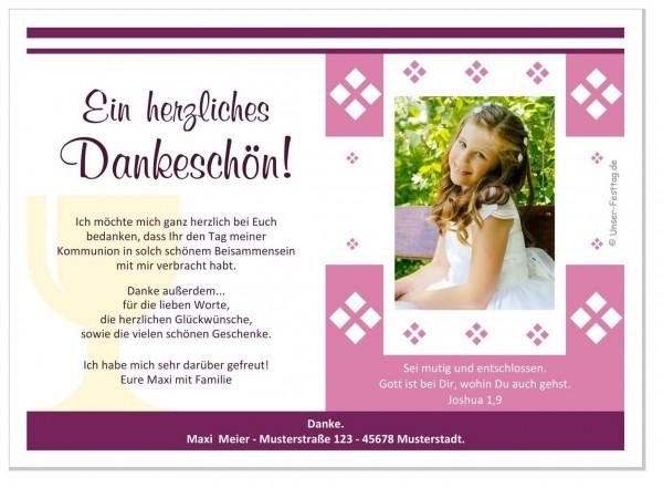Dankeskarte Kommunion Foto Mädchen