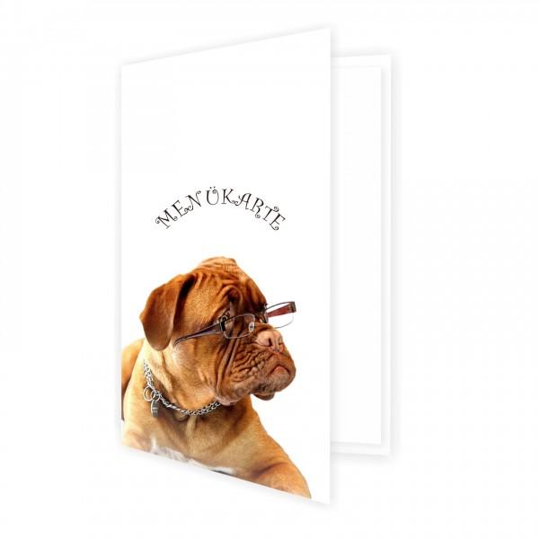 Menükarte Motiv Hund Brille Lustig