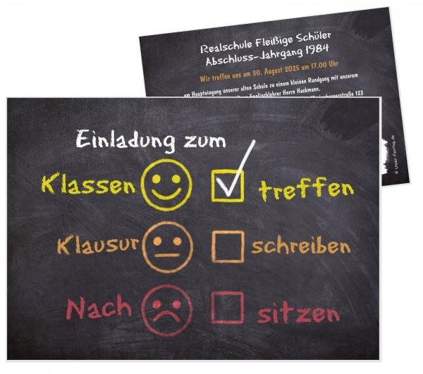 Einladungskarten Klassentreffen Tafel Smileys