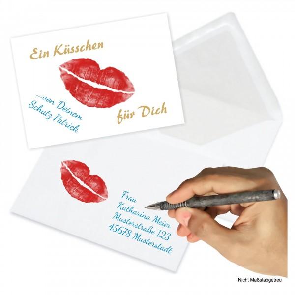 Küsschenkarte Valentinstag Jahrestag Umschlag