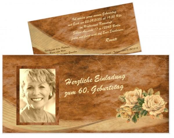 Schöne Einladungskarte Geburtstag Sechzig