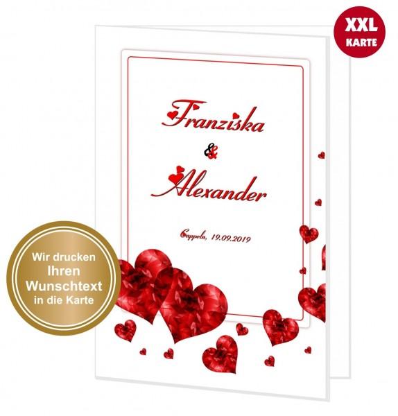 Maxi Glückwunschkarte Hochzeit Herzen