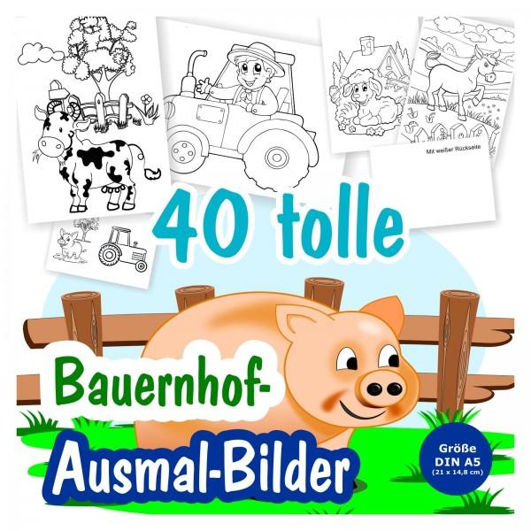 24 x Bauernhof A6 Postkarten zum Ausmalen