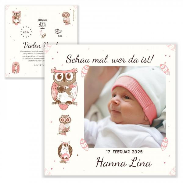 Geburtskarten Mädchen Text Baby Vintage Eulen