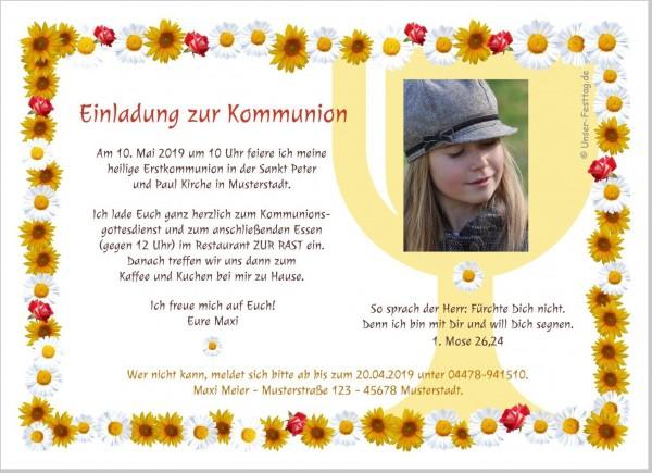 Einladungskarten Kommunion Mädchen Foto