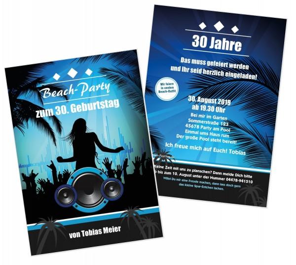 Einladungskarten Beachparty Geburtstag Cool