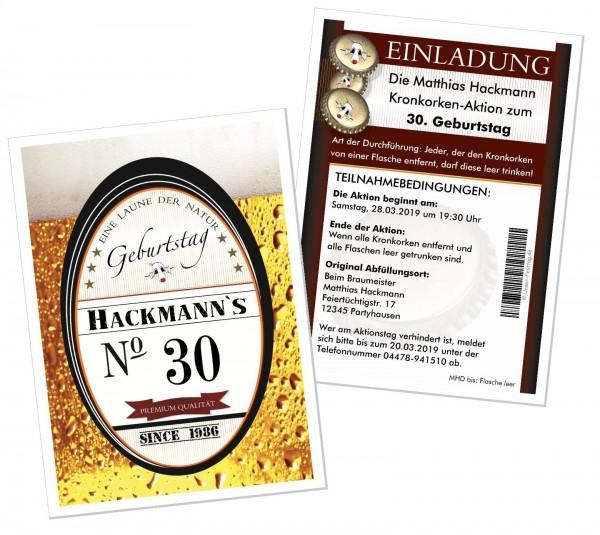 Einladungskarten Kronkorken Aktion Bier