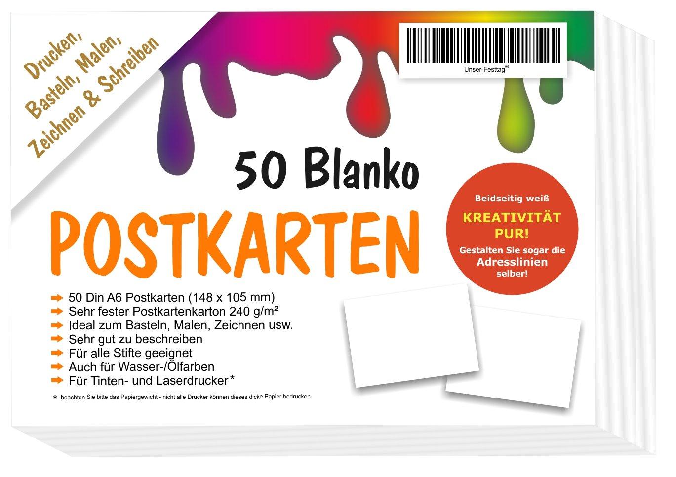 Ideen F303274r Weihnachtskarten.50 Blanko Postkarten Ohne Linien Weiss In A6
