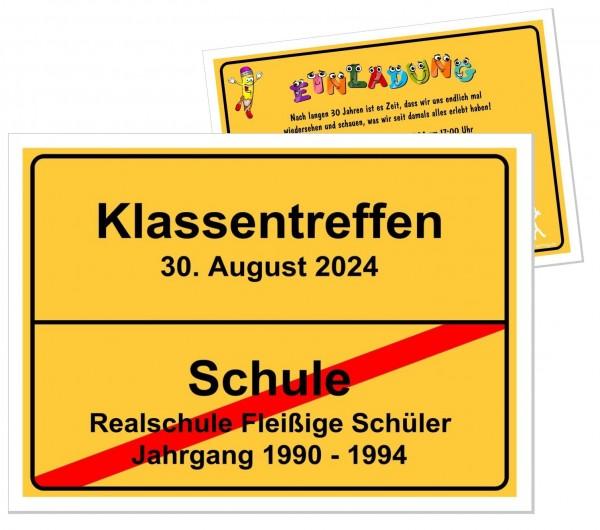 Einladungskarten Klassentreffen Gelbes Ortschschild