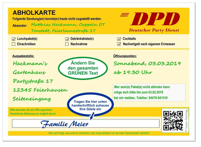 Einladungskarte Dpd Abholkarte