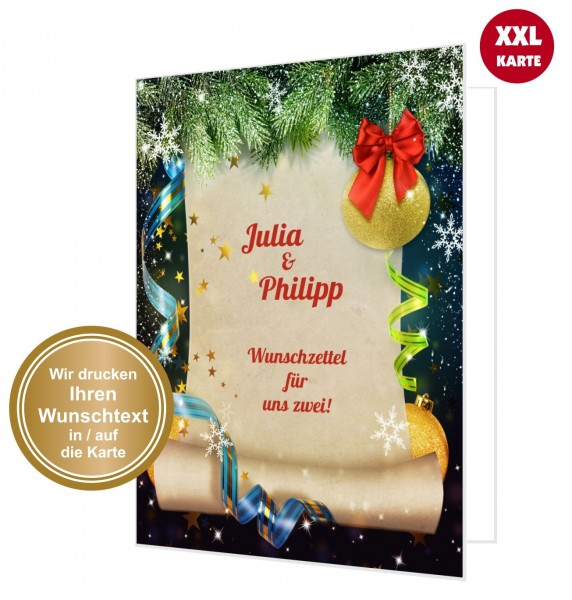 Wunschzettel Weihnachten Paare Karte