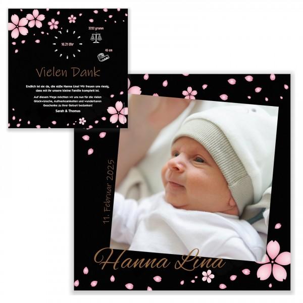 Edle Schöne Geburtskarten Maedchen Blumen Design