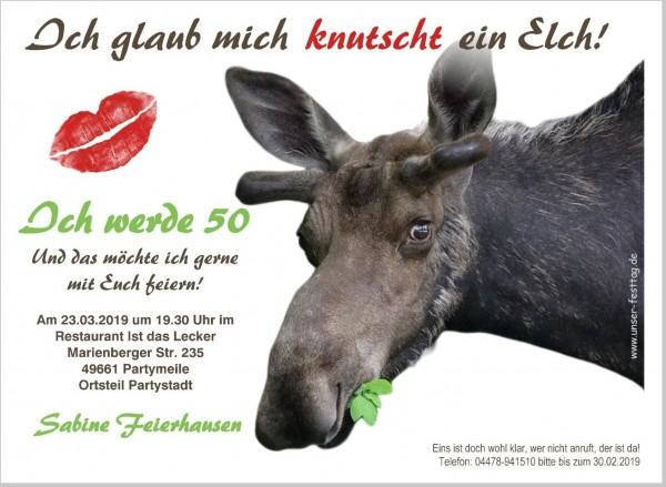 Einladungskarten Zum Geburtstag Elch Lustig