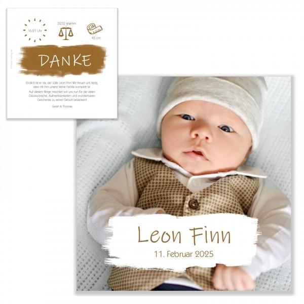Ausgefallene Dankeskarten Geburt für Jungen und Mädchen, mit Foto und Wunschtext