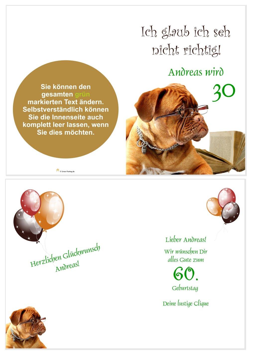 Gluckwunschkarte Hund Mit Brille Unser Festtag