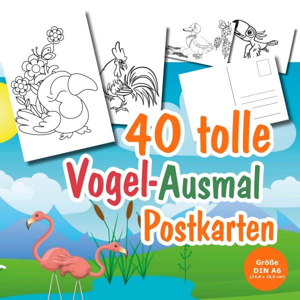 Postkarten Ausmalen Kinder Vogel 3 Jahre