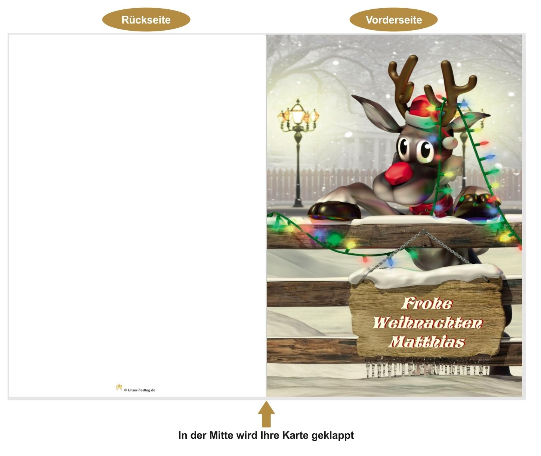 Schräge Weihnachtsgrüße.Xxl Weihnachtskarte Lustiges Rentier