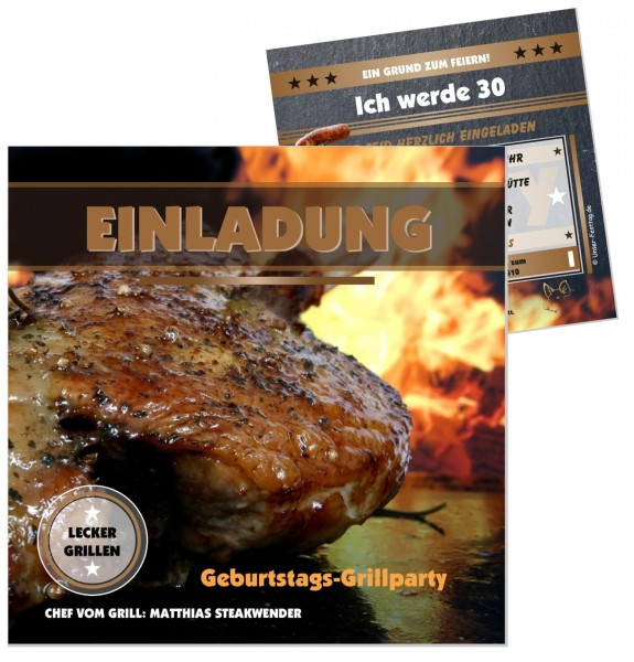 Einladungskarte Grillparty Geburtstag Steak