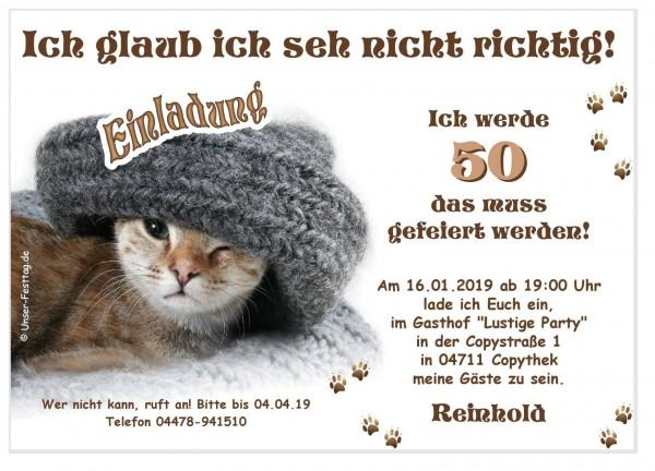 Geburtstagseinladung Katze Mütze Lustig