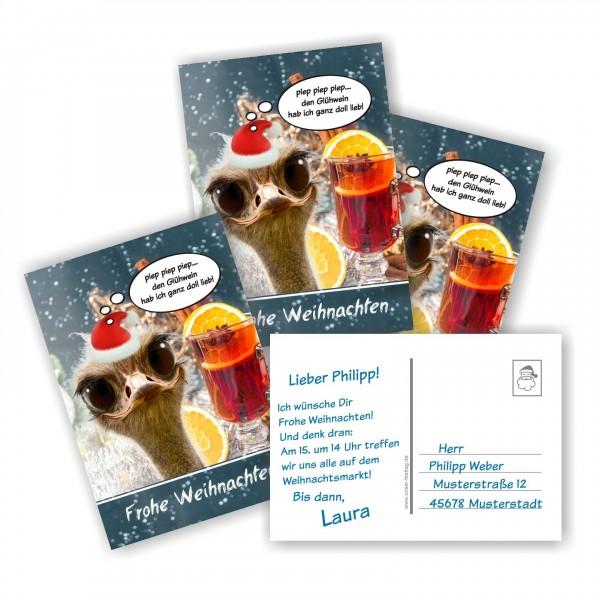 Lustige Weihnachtspostkarten Vogel Glühwein