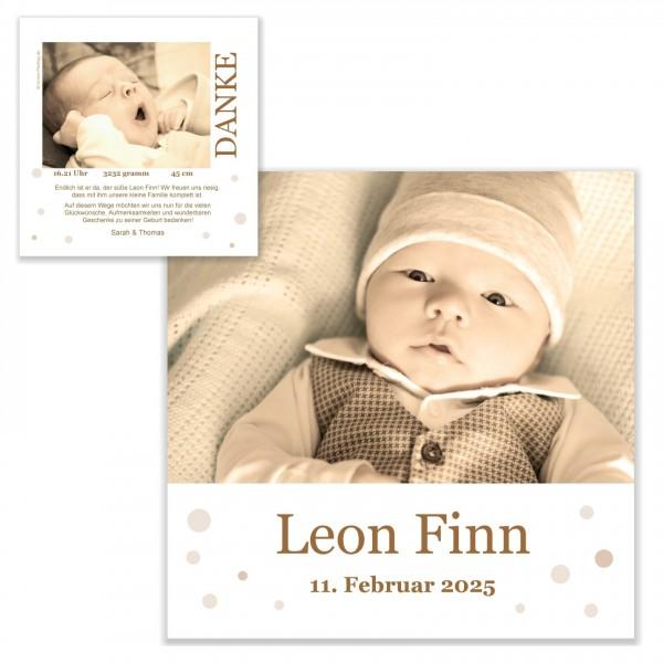 Babykarten Dankeskarten Geburt Puenktchenland