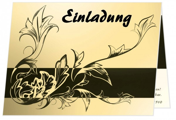 Edle Geburtstagseinladung Filigrane Blätter