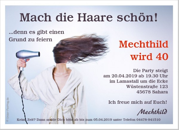 Einladungskarte Mach Die Haare Schön