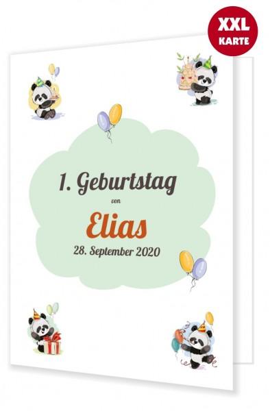 Glückwunschkarte Für Kind Zum 1. Geburtstag Panda