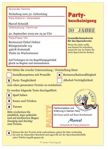 Einladungskarte Krankmeldung Attest Arzt