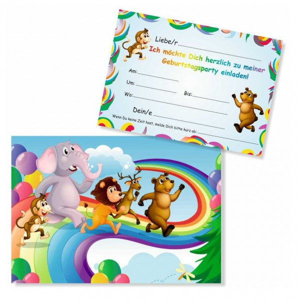 Kindereinladungen Lustige Tiere Geburtstag