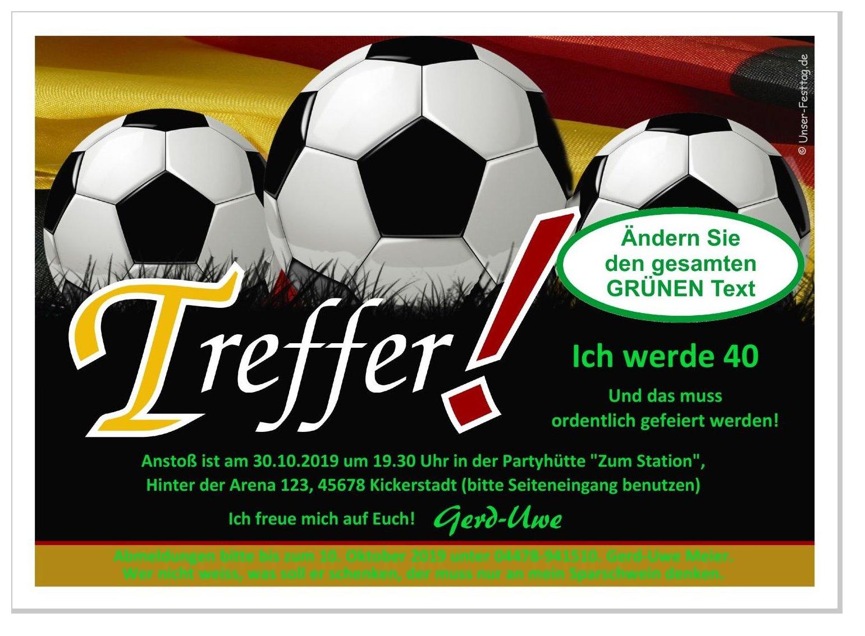 Einladungskarte Fussball Treffer