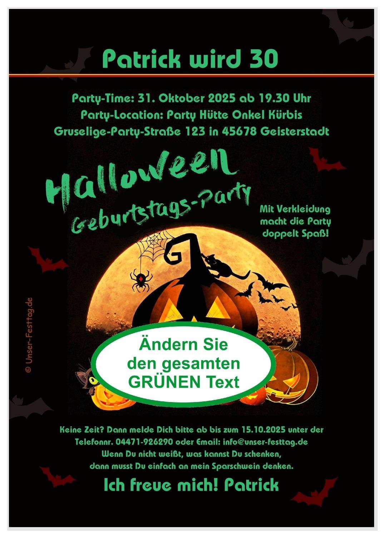 originelle geburtstagseinladung: lustige halloween