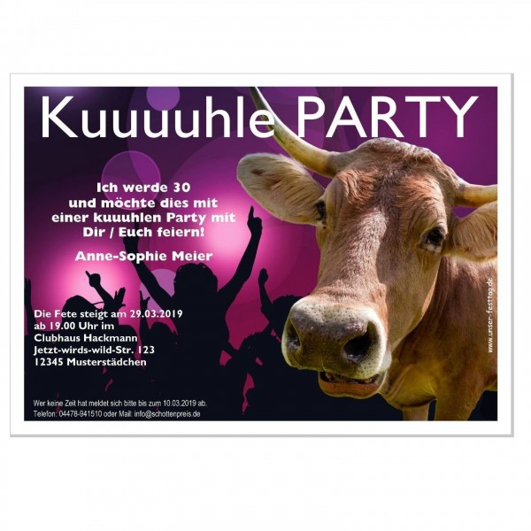 Einladungskarte Geburtstag Lustig Kuh