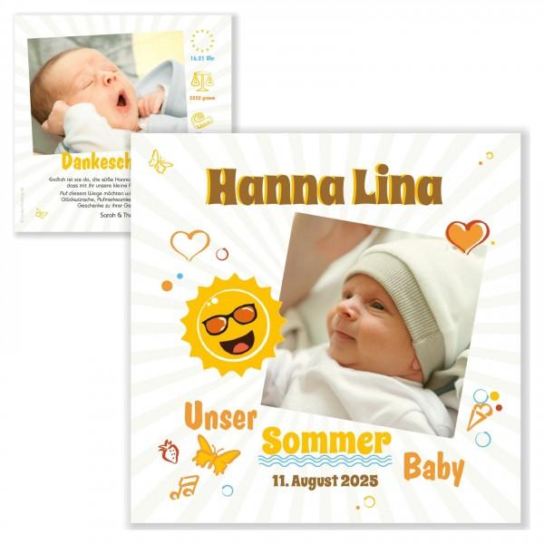 Geburtskarten Dankeskarten Unser Sommer Baby Foto